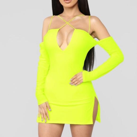 Neon Yellow Strappy Mini Dress